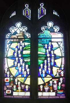 The memorial window to the members of the Bolsterstone Male Voice Choir party killed in 1947.