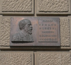 Plaque commemorating Husserl in his home town of Prostějov, Czech Republic