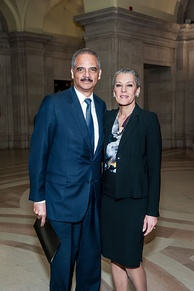 Holder and his wife Sharon Malone at the Andrew W. Mellon Auditorium in Washington, D.C., in 2015