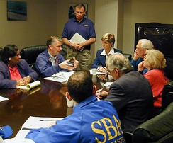 FEMA Director James Lee Witt meets with Governor Whitman and other New Jersey officials to discuss the response to Hurricane Floyd, September 21, 1999.