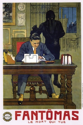 A poster for the third Fantômas serial by Louis Feuillade. Fantômas wears his iconic black hood and black leotard, more sinister features than the traditional gentleman thief's domino mask and tuxedo.