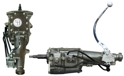 Top and side view of a typical manual transmission, in this case a Ford Toploader, used in vehicles with external floor shifters.