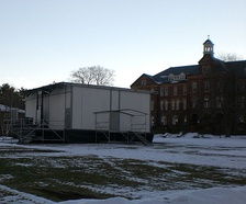 "Saint Anselm College Quad with the ""Fox-Box"", from which the Fox News network reported live during the 2004 and 2008 New Hampshire primary"