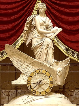 Carlo Franzoni's 1810 sculptural chariot clock, the Car of History depicting Clio, muse of history, recording the proceedings of the house