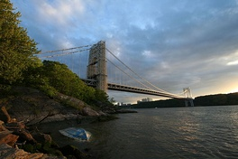 The bridge, looking south from the New York side of the Hudson River.