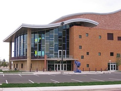 The Globe-News Center for the Performing Arts building is located near the Amarillo Civic Center.