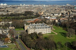Bird's-eye view of Holyrood Palace and Abbey, including the western towers