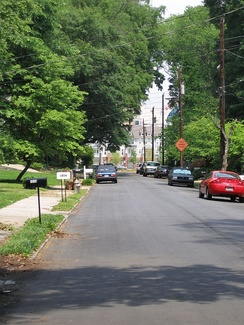 A street in north Home Park, with Atlantic Station in the background.