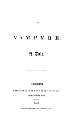 The Vampyre; A Tale, 1819
