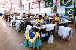 Inmates sewing in a Brazilian prison