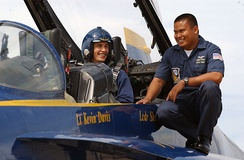 Franco, preparing to ride in the Blue Angels No. 7, with Patrick Palma in a two-seat FA-18B, in August 2006
