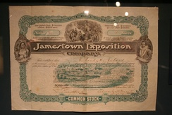 stock certificate issued to investors in the exposition