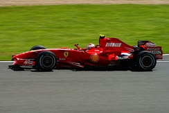 Kimi Räikkönen piloting his Ferrari to victory in the 2007 British Grand Prix