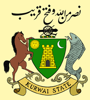 Kurwai State coat of arms with a Mahseer as supporter.