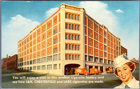 Advertisement to promote a visit to the factory were L&M and other brands were made