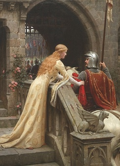 God Speed! by Edmund Blair Leighton, 1900: a late Victorian view of a lady giving a favor to a knight about to do battle