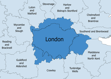 The London Travel to Work Area in 2001 (dark blue), with the administrative boundary of Greater London shown.