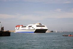 HSC Stena Explorer, a large fast ferry on the former Holyhead–Dún Laoghaire route between Great Britain and Ireland.