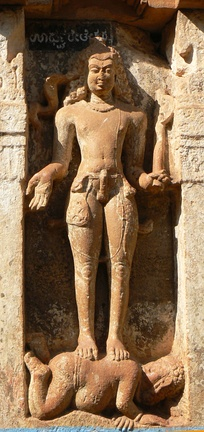 Lakulisha at Sangameshvara Temple at Mahakuta, Karnataka (Chalukya, 7th century CE). His 5th–10th century ithyphallic statues are also found in seated yogi position in Rajasthan, Uttar Pradesh and elsewhere.[162]