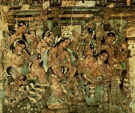 Jataka tales from the Ajanta Caves, present-day Maharashtra, India, 7th century CE.