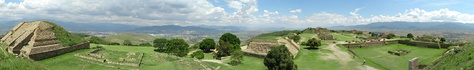 Looking over the site of Monte Alban. Situated on a mountaintop, Monte Alban overlooks much of the Valley of Oaxaca.