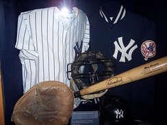 The mask and catcher's mitt of Thurman Munson, the team captain who was killed in a plane crash in 1979