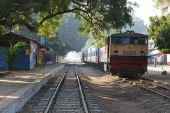 The trains are relatively slow in Myanmar. The railway trip from Bagan to Mandalay takes about 7,5 hours (179 km).