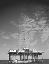 Conoco offshore oil well drilling platform, Gulf of Mexico, 1955.