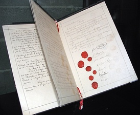 The Geneva Convention: the signature-and-seals page of the 1864 Geneva Convention, that established humane rules of war.
