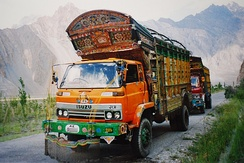Jingle trucks on the Karakoram Highway.