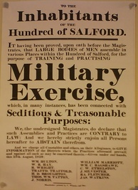 "Notice ""to the inhabitants of the Hundred of Salford"", published by magistrates the day after the Peterloo Massacre"