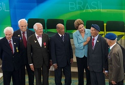 Brazilian President Dilma Rousseff with veterans of the Brazilian Expeditionary Force during a ceremony to commemorate the 70th anniversary of the end of World War II, May 8, 2015