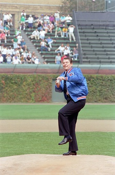 Ronald Reagan, Chicago Cubs v. Pittsburgh Pirates, Wrigley Field, September 30, 1988.