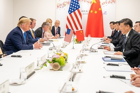 Chinese leader Xi Jinping with U.S. President Donald Trump at the 14th G20 in Osaka, August 2019.[1]