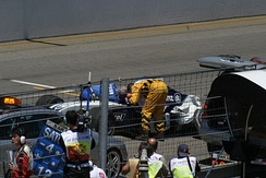 Schumacher after a serious accident at the 2004 United States Grand Prix