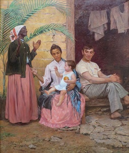 "A Redenção de Cam (Ham's Redemption) (1895) by Modesto Brocos, painting shows a Brazilian family each generation becoming ""whiter"" (black grandmother, mulatto mother and white baby)."