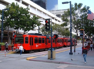 San Diego Trolley Model SD100s in Downtown San Diego. March 2008.