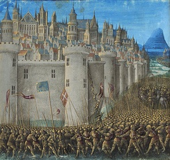 The Siege of Antioch, from a medieval miniature painting, during the First Crusade