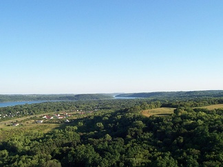 A view of the forested St. Croix River valley, looking south towards Afton