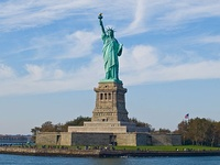 The Statue of Liberty in New York Harbor is a symbol of the United States and its ideals of freedom, democracy, and opportunity.[94]