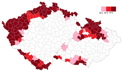 Czech districts with an ethnic German population in 1934 of 25% or more (pink), 50% or more (red) and 75% or more (dark red)[6] in 1935