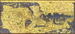 "The Tabula Rogeriana, an ancient world map drawn by Muhammad al-Idrisi for Roger II of Sicily in 1154. The north is at the bottom, and so the map appears ""upside down"" compared to modern cartographic conventions."