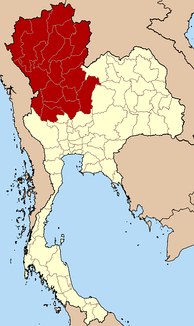 Northern Thailand according to the four-region grouping system