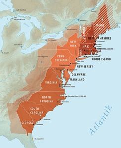 Thirteen Colonies of North America: Dark Red = New England colonies. Bright Red = Middle Atlantic colonies. Red-brown = Southern colonies.