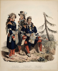 Three Huron-Wyandot chiefs from Wendake in Quebec. New France had largely peaceful relations with the indigenous people such as their allies the Huron. After the defeat of the Huron by their mutual enemies the Iroquois many fled from Ontario to Quebec.
