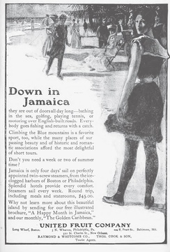A 1906 advertisement in the Montreal Medical Journal, showing the United Fruit Company selling trips to Jamaica.