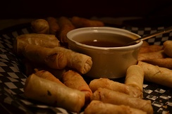 Spring rolls are a large variety of filled, rolled appetizers or dim sum found in Chinese cuisine. Spring rolls are the main dishes in Chinese Spring Festival (Chinese New Year).