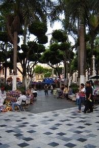 The plaza in the center of the city of Veracruz