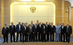Russian President Vladimir Putin meeting with pro-Russian representatives of the Crimean Tatars, 16 May 2014
