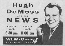 1957 TV Guide Advertisement for WLW-C (WCMH) News with longtime anchor Hugh DeMoss, later Franklin County, Ohio Commissioner.